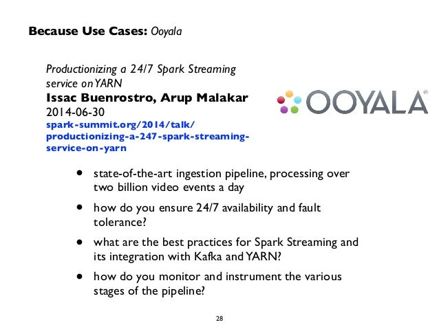 Because Use Cases: Ooyala  Productionizing a 24/7 Spark Streaming  service on YARN  Issac Buenrostro, Arup Malakar  2014-0...