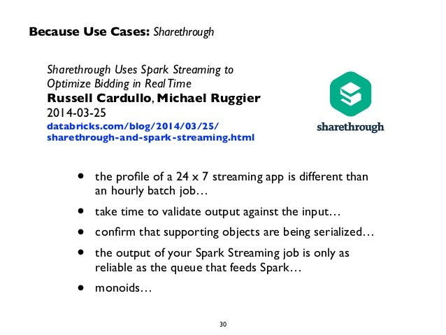 Because Use Cases: Sharethrough  Sharethrough Uses Spark Streaming to  Optimize Bidding in Real Time  Russell Cardullo, Mi...
