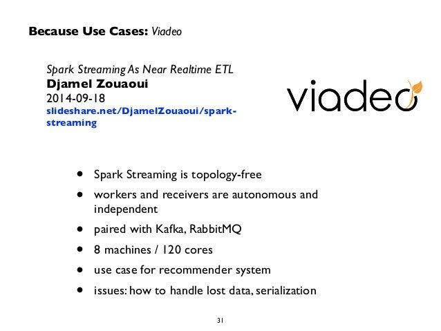 Because Use Cases: Viadeo  Spark Streaming As Near Realtime ETL  Djamel Zouaoui  2014-09-18  slideshare.net/DjamelZouaoui/...