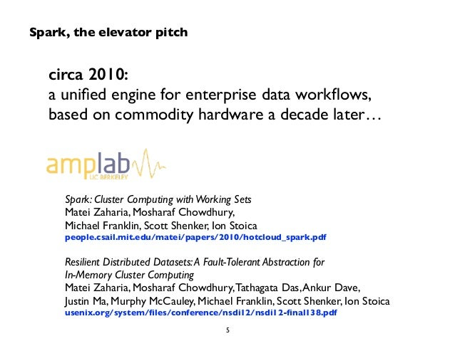 circa 2010:  a unified engine for enterprise data workflows,  based on commodity hardware a decade later…  Spark: Cluster ...