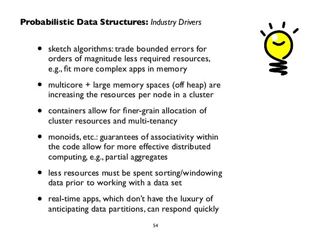 Probabilistic Data Structures: Industry Drivers  • sketch algorithms: trade bounded errors for  orders of magnitude less r...