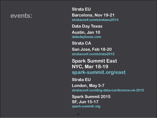 events:  Strata EU  Barcelona, Nov 19-21  strataconf.com/strataeu2014  Data Day Texas  Austin, Jan 10  datadaytexas.com  S...
