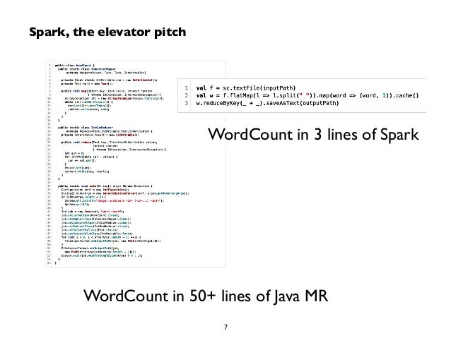 WordCount in 3 lines of Spark  Spark, the elevator pitch  WordCount in 50+ lines of Java MR  7
