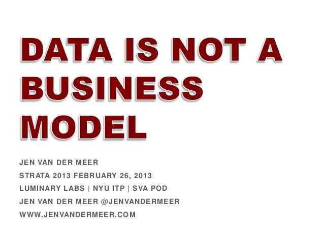 JEN VAN DER MEER STRATA 2013 FEBRUARY 26, 2013 LUMINARY LABS | NYU ITP | SVA POD JEN VAN DER MEER @JENVANDERMEER WWW.JENVA...