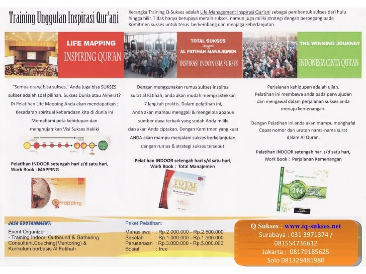 Q Sukses :  www.iq-sukses.net Surabaya : 031 3971374 / 081554736612 Jakarta :  08179185625 Solo 081329481980