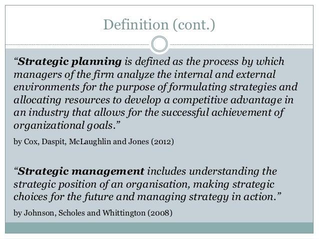 Strategic management and strategic planning