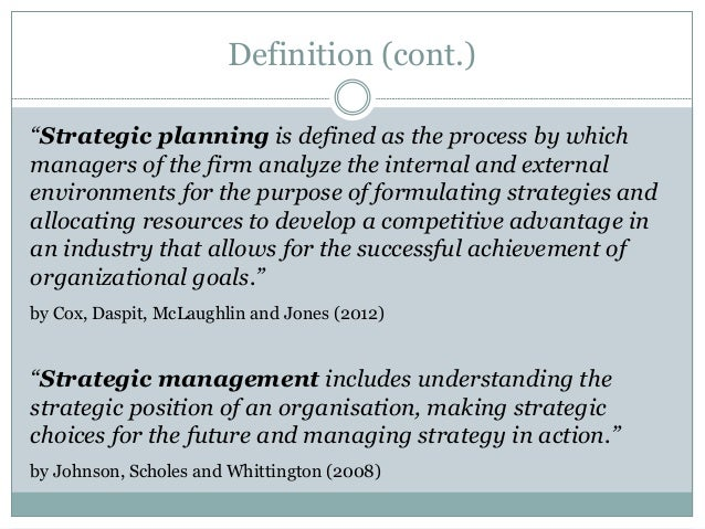 define strategic planning Strategic planning is an ongoing process designed to provide a roadmap for  taking us from a well-defined present state to a compelling and significantly.