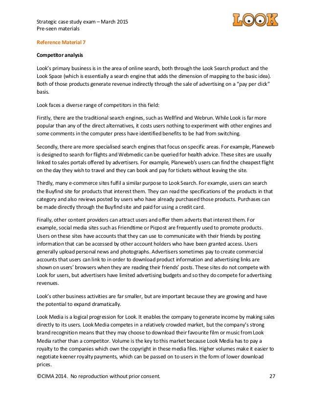CIMA Strategic Case Study March - Preseen Look