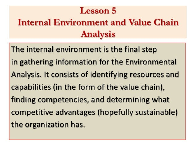 Lesson 5 Internal Environment and Value Chain                AnalysisThe internal environment is the final stepin gatherin...