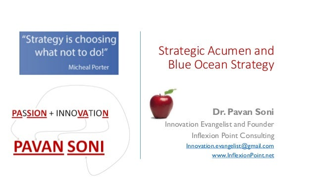 Strategic Acumen and Blue Ocean Strategy Dr. Pavan Soni Innovation Evangelist and Founder Inflexion Point Consulting Innov...