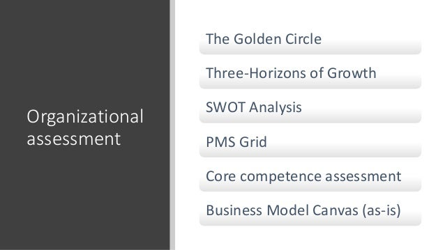 Organizational assessment The Golden Circle Three-Horizons of Growth SWOT Analysis PMS Grid Core competence assessment Bus...