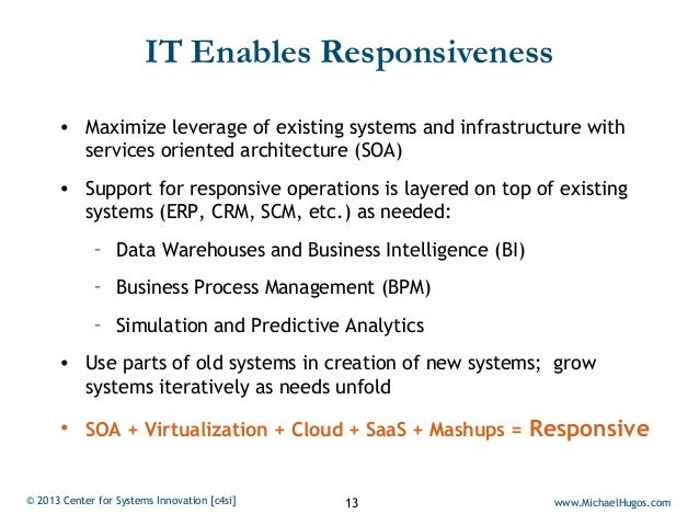 IT Enables Responsiveness      • Maximize leverage of existing systems and infrastructure with        services oriented ar...