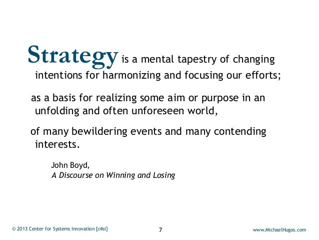 Strategy              is a mental tapestry of changing          intentions for harmonizing and focusing our efforts;      ...