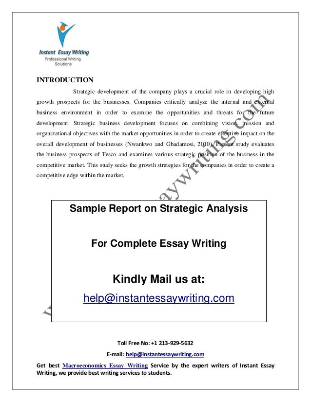 sample on strategic analysis by instant essay writing