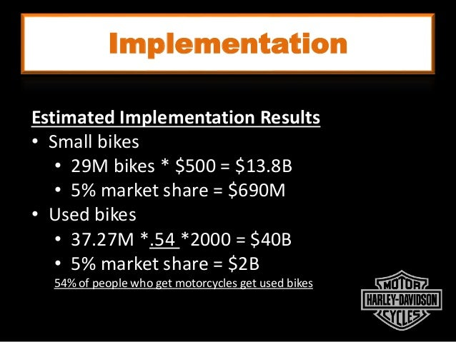 Implementation Estimated Implementation Results • Small bikes • 29M bikes * $500 = $13.8B • 5% market share = $690M • Used...