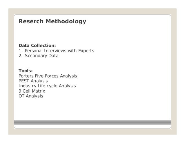 Reserch MethodologyData Collection:1. Personal Interviews with Experts2. Secondary DataTools:Porters Five Forces AnalysisP...