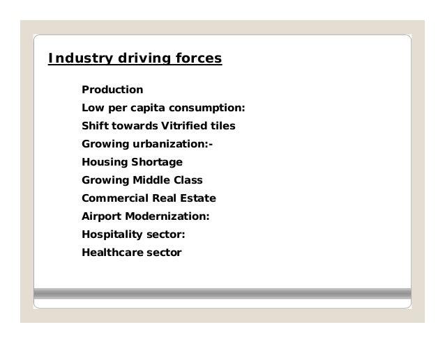 Industry driving forces    Production    Low per capita consumption:    Shift towards Vitrified tiles    Growing urbanizat...