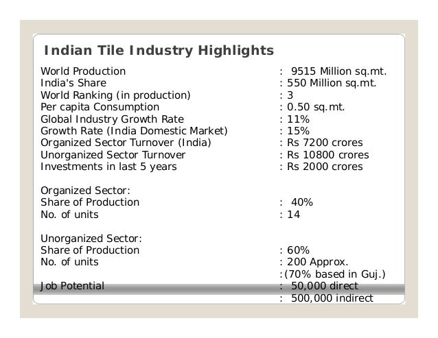 Indian Tile Industry HighlightsWorld Production                      :    9515 Million sq.mt.Indias Share                 ...