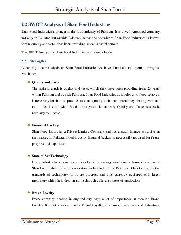 Strategic Analysis of Shan Food Industries