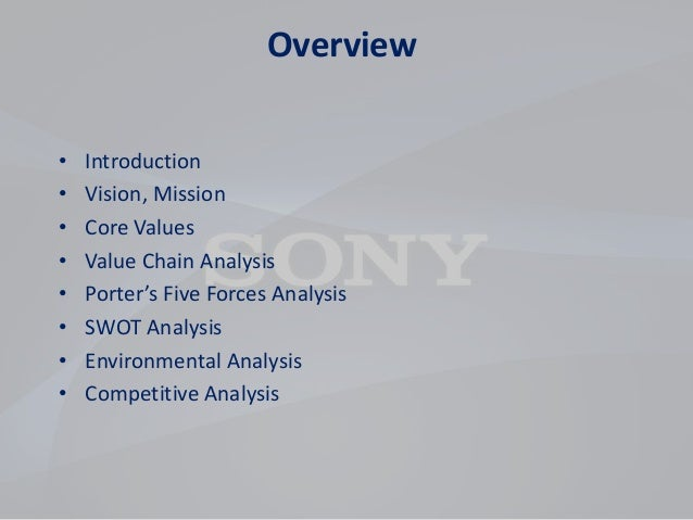 sonys environment analysis A critical analysis of internal and external  environmental analysis  and topsy – and many alliances – eg, sony, motorola, phillips, and.