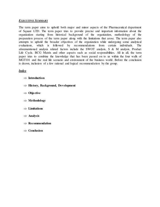 Strategic report of square pharma