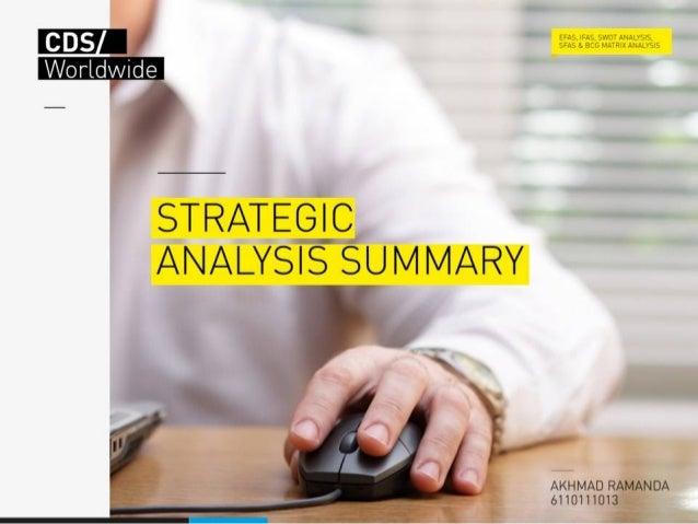 Strategic analysis summary 2013 cds worldwide