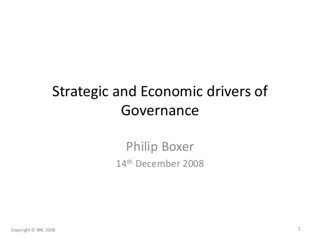 Strategic and Economic drivers of Governance Philip Boxer 14th December 2008 1Copyright © BRL 2008