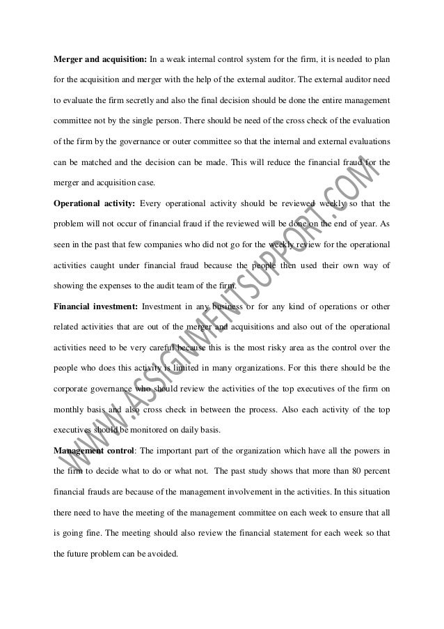 assignment internal audit essay While planning their annual audit plan, internal  handle potential frauds uncovered during an internal audit assignment coping up with the new role.