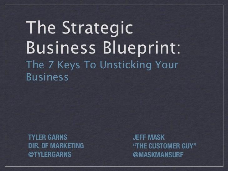 "The StrategicBusiness Blueprint:The 7 Keys To Unsticking YourBusinessTYLER GARNS         JEFF MASKDIR. OF MARKETING   ""THE..."