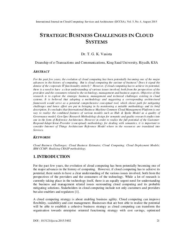 International Journal on Cloud Computing: Services and Architecture (IJCCSA), Vol. 5, No. 4, August 2015 DOI : 10.5121/ijc...