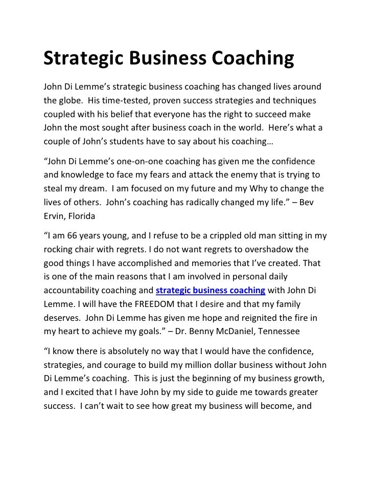 Strategic Business CoachingJohn Di Lemme's strategic business coaching has changed lives aroundthe globe. His time-tested,...