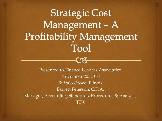 Presented to Finance Leaders Association November 20, 2010 Buffalo Grove, Illinois Barrett Peterson, C.P.A. Manager, Accou...