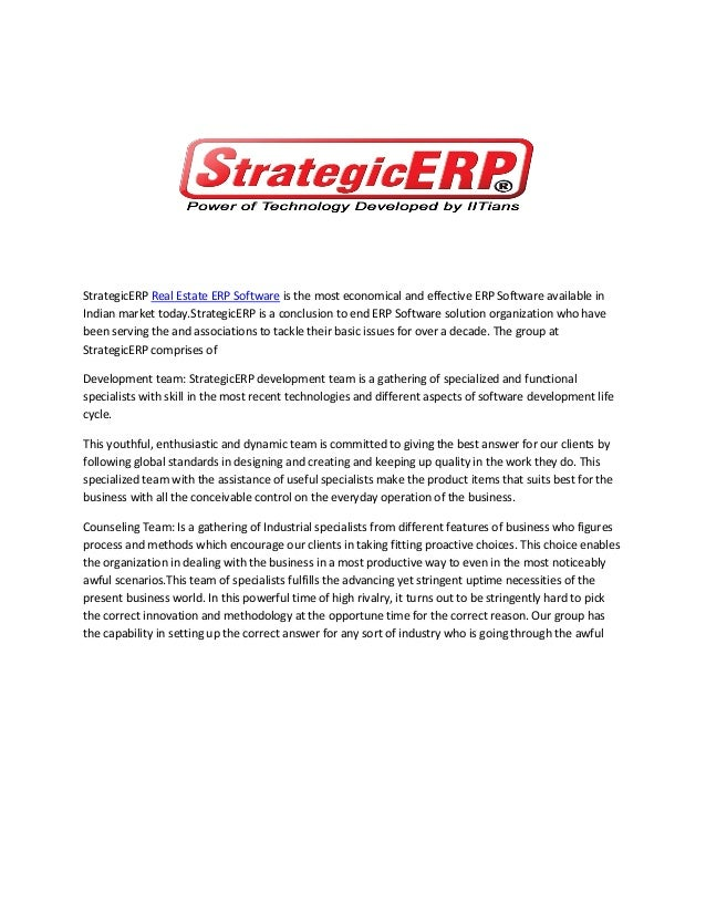 StrategicERP - No 1 real estate erp software Company in India
