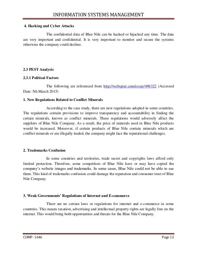 blue nile case research: managerial accounting essay Blue nile research & application 5-20  • poor inventory management  blue nile case stydu essay scm44 case study cheng gong 1.