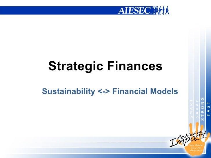 Strategic Finances Sustainability <-> Financial Models