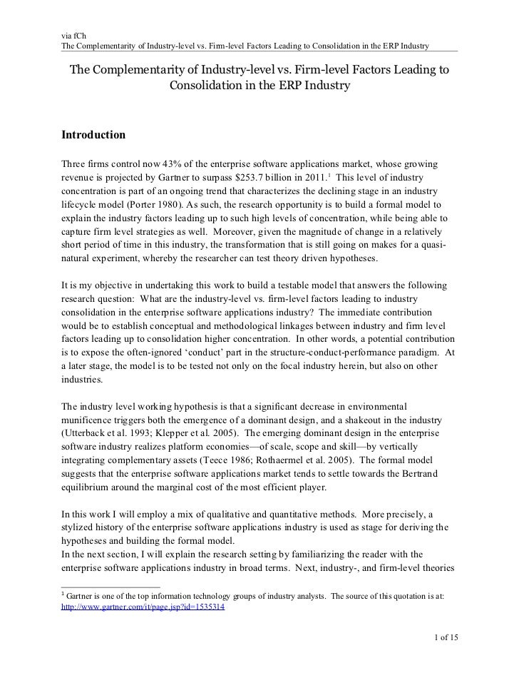 via fChThe Complementarity of Industry-level vs. Firm-level Factors Leading to Consolidation in the ERP Industry    The Co...