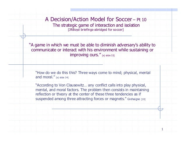 1A Decision/Action Model for Soccer – Pt 10The strategic game of interaction and isolation[JRBoyd briefings-abridged for s...