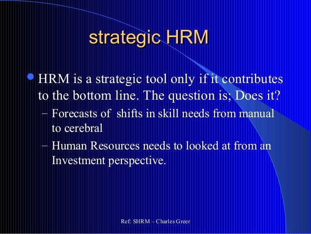 strategic human resource management resource based Trace the development of strategic human resource management from the resource based view of the firm how does the resource based view of the firm facilitate and.