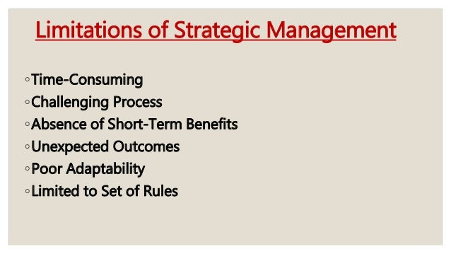 strategic human resource management and strategic management processmanagement; 19 limitations of strategic