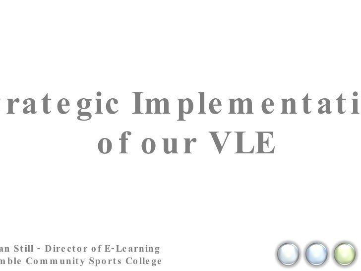 Strategic Implementation of our VLE Kristian Still - Director of E-Learning  @ Hamble Community Sports College