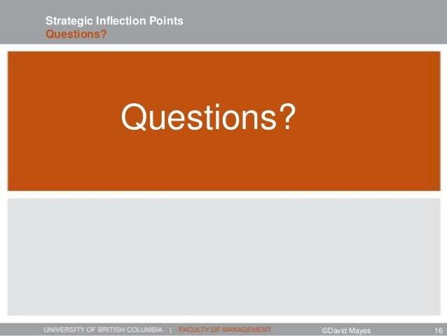Questions? Strategic Inflection Points Questions? ©David Mayes 16