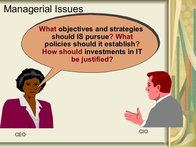 What objectives and strategies should IS pursue? What policies should it establish? How should investments in IT be justif...