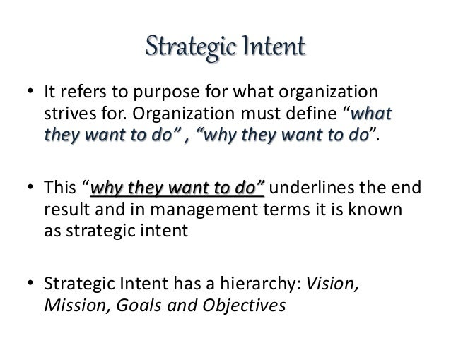 strategic intent meaning