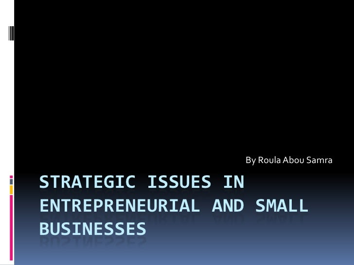 Strategic Issues in Entrepreneurial and Small Businesses<br />By Roula Abou Samra<br />