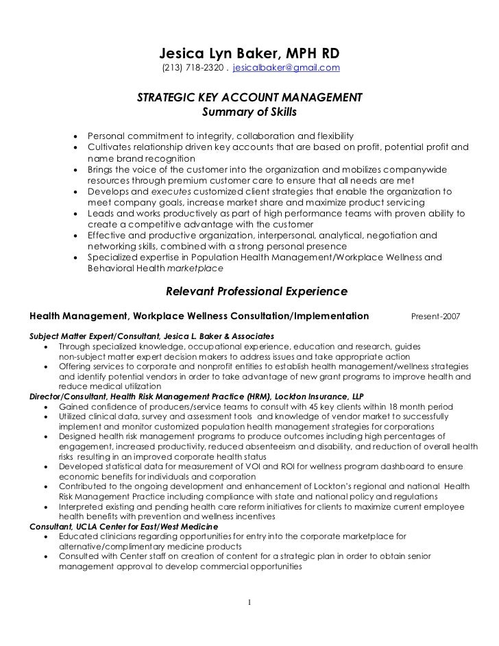 strategic key account management resume 4 7 2011 - Management Skills Resume