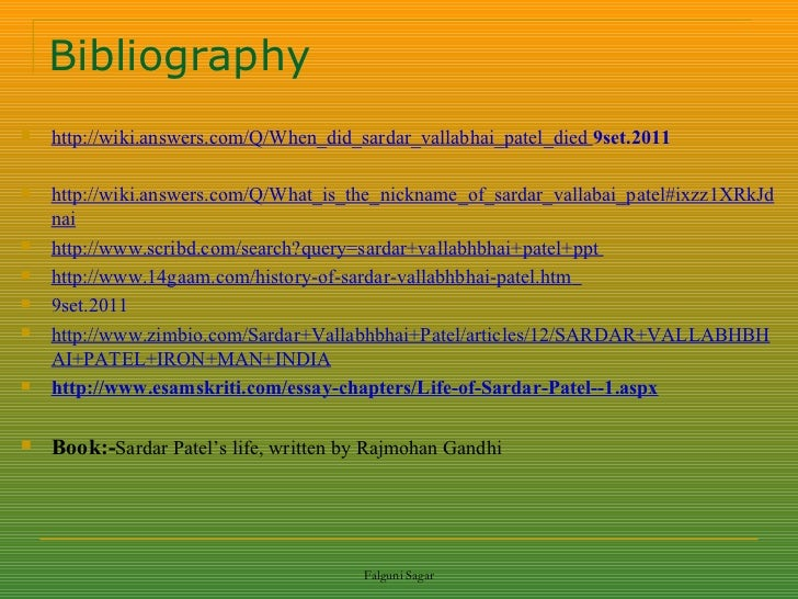 Essay on sardar vallabhai patel