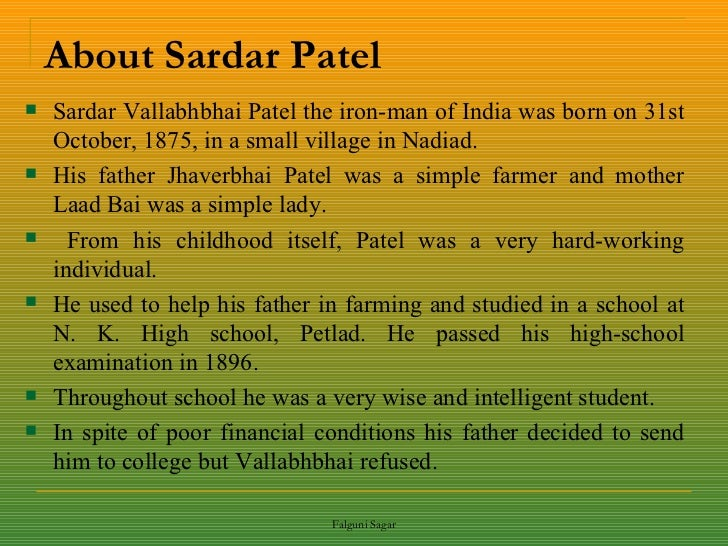 Sardar Vallabhbhai Patel essay in English 👴 Student & Children