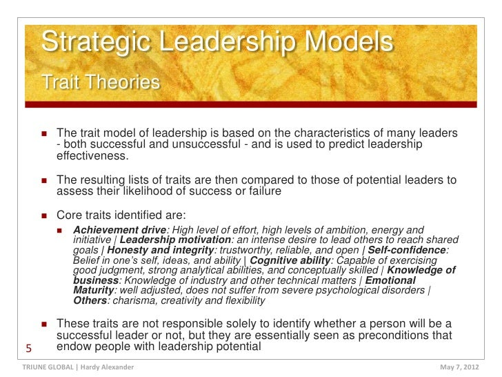 strategic leadership  5 strategic leadership models trait theories