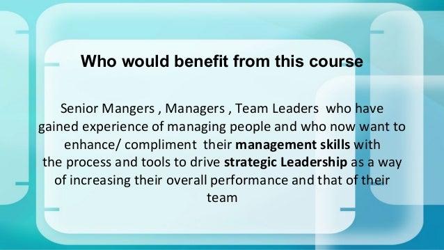 Developing Strategic Management and Leadership Skills
