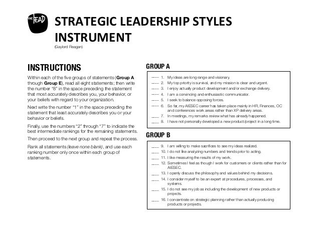 leader strategy essay